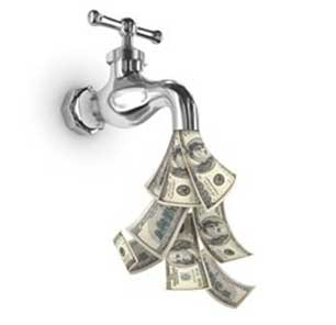 Water faucet with dollar bills comin out